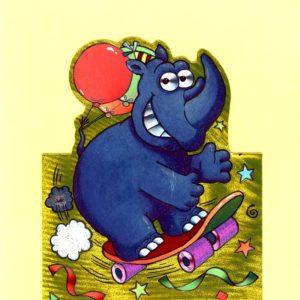 1026 Rhino on Scateboard