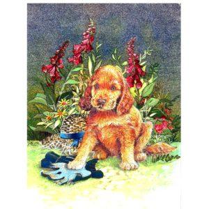 3253 Puppy & Flowers