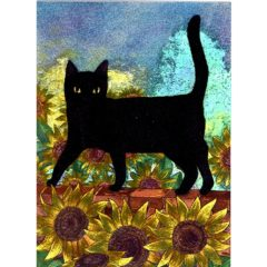 3678 Black Cat & Sunflowers
