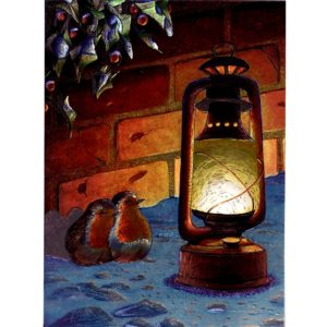 3734 Two Robins & Latern