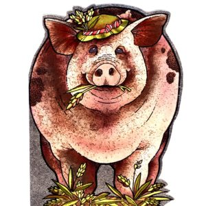 4049 Large Pig with Hat