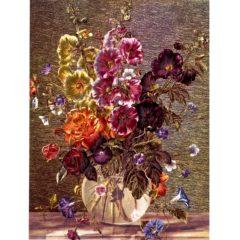6648 Hollyhocks in Glass Vase