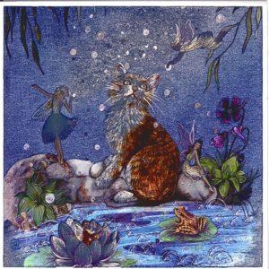 7052 Cat & Fairies on Flowery Waters
