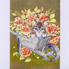 P1350 Kitten In Wheelbarrow & Flowers – Cats