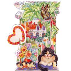 C-3D701 Cat & Geese House Garden