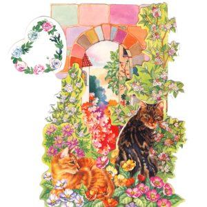 C-3D709 Cats in Garden