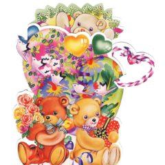 C-3D711 Teddies Hearts Presents