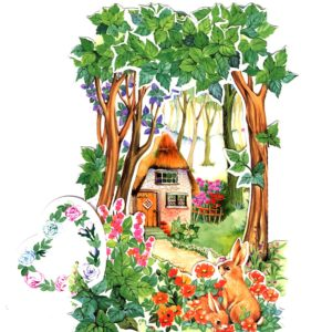 C-3D714 Rabbit Flowers Garden  House