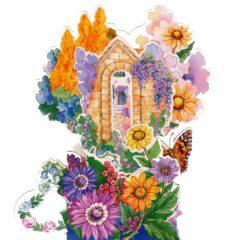 C-3D756 Garden Flowers Butterfly