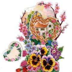 C-3D755 Heart House Pansies