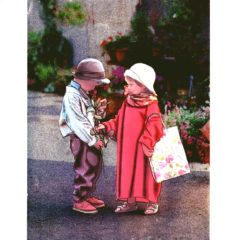 6591 Young Boy & Girl with Rose