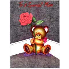 3221Teddy with Red Rose
